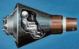 """En las SA """"Mercury"""" no hay espacio libre más que en un pequeño avión (Estados Unidos, 1961-62)."""