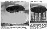 El periódico del 1 de abril de 1950. Demuestren el original y отретушированная la foto de la torre de agua, convertida en un ovni. Traducido del servicio de «Yandex.Traductor»