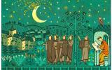 Взрыв луны на средневековой иллюстрации
