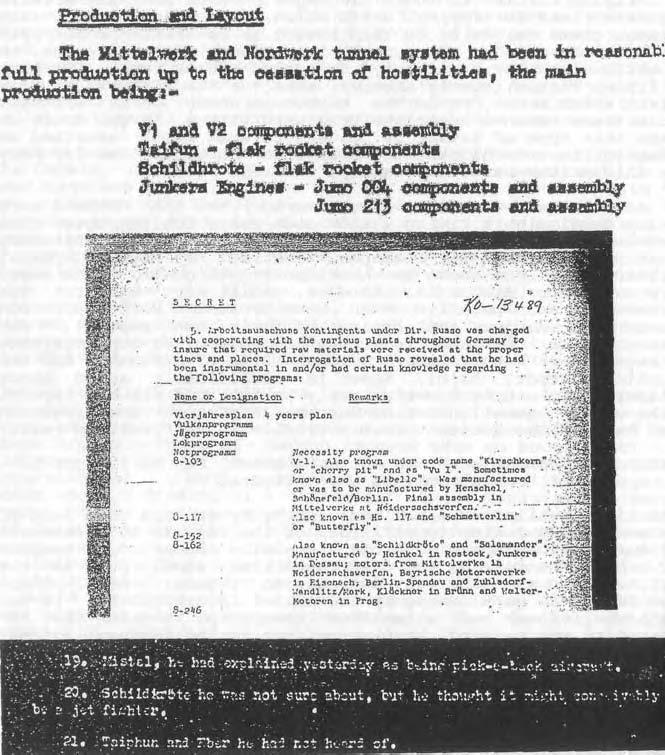 Arriba: Subcomité de objetivos de inteligencia combinados (CIOS), puntos del informe 21, 22, 31, archivo no. XXX111-38 Fábricas subterráneas en Alemania, P. 19.Centro: Informe CIOS 40, Sonderausschusss A-4, página 5. Abajo: Informe CIOS 59 (b) Interrogatorio del ministro de armas y guerra del Reich, Albert Speer, página 3