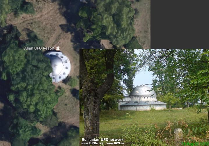 """НЛО вРумынии  45°42'12.0""""N 21°18'06.6""""E  Этот объект, похожий формой наНЛО изфантастических фильмов, был обнаружен наодной иззаброшенных ферм рядом срумынским городом Тимишоара. Находка породила массу слухов отом, что нанашу планету приземлился инопланетный корабль. Насамомже деле летающая тарелка нечто иное, какзаброшенная водокачка, которая некогда снабжала Тимишоару водой.  Фото здания было взято с сайтаrufon.org"""