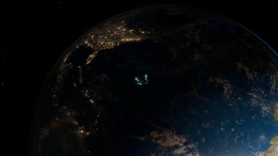 Космический корабль пришельцев на фоне Земли