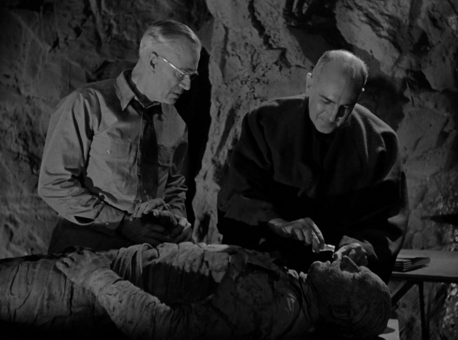 Жрец Ра вливает отвар листьев Таны в рот мумии